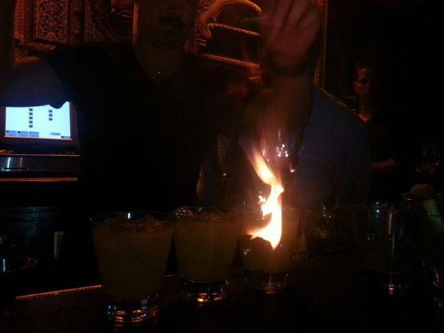 Drinks on fire at Burlap