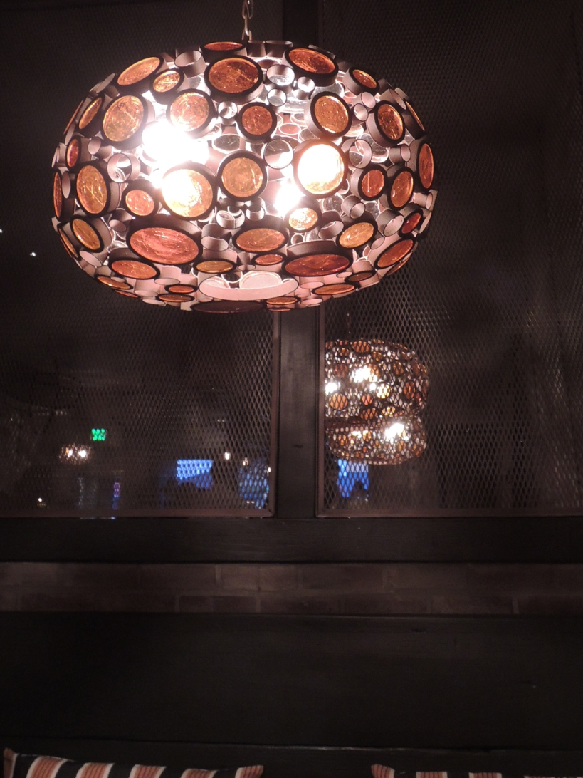 Warm lighting at Rustic Kitchen
