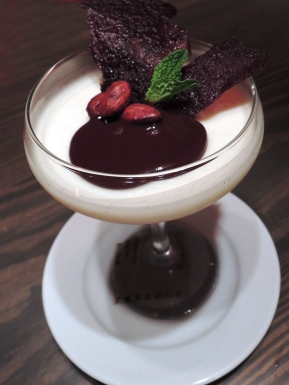 Panna cotta with dark chocolate dessert