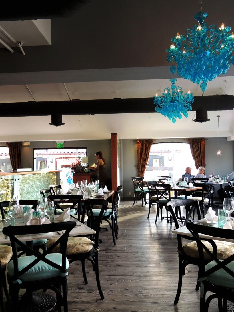 blue glass chandeliers